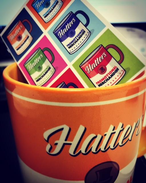 Branded mug business card Power Brand Hatters Print blog branding